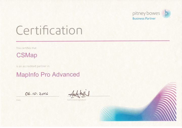 MapInfo Pro Advanced certificate
