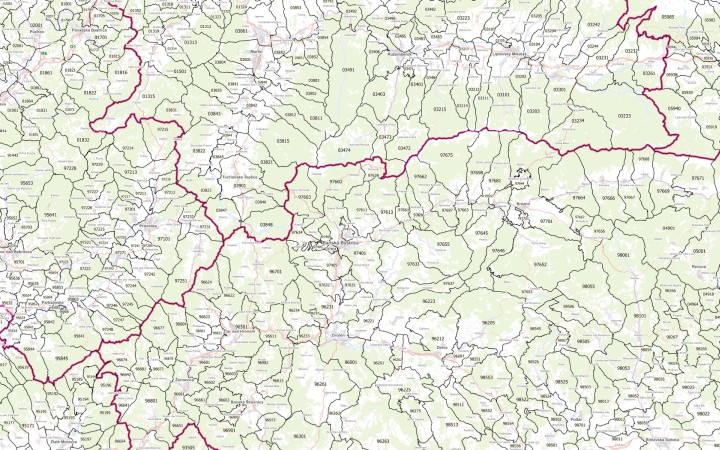 Sample map of postal areas of the Slovakia.